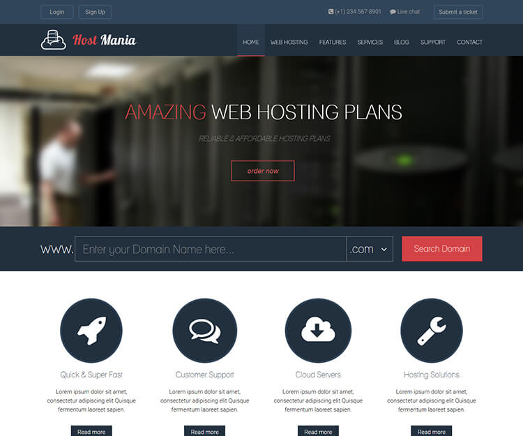 Hostmania – Bootstrap Hosting Template