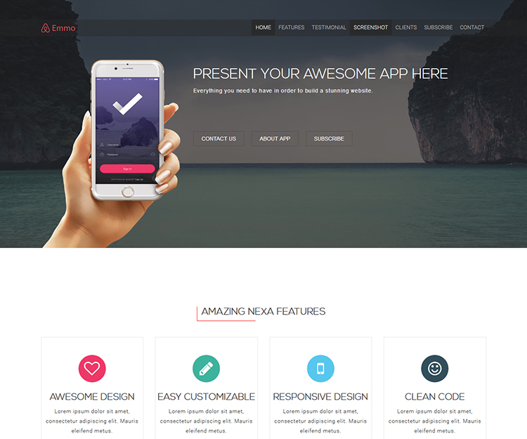 Emmo – Bootstrap3 App Landing Page