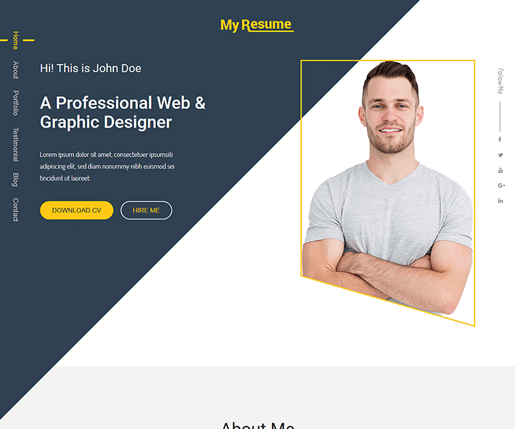 myresume bootstrap personal portfolio template ecology theme. Black Bedroom Furniture Sets. Home Design Ideas