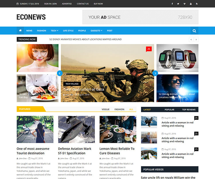 Econews - Free WordPress Newspaper Theme