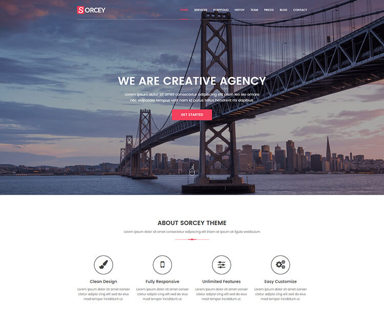 Sorcey - Responsive One Page Parallax HTML Template