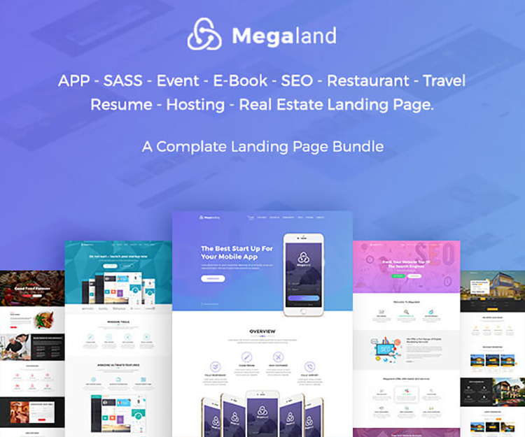MegaLand Multipurpose Landing Page Template Bundle Ecology Theme - Seo landing page template